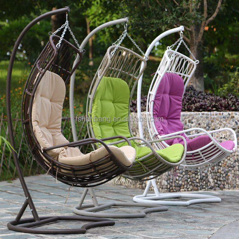 balcony woven big thick rattan swing chair