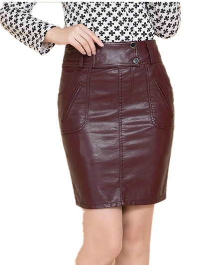 xxxxl Autumn Winter New 2015 Women's PU Skirt  , Professional Medium-long Plus Size Slim Hip leather Skirts Free Shipping