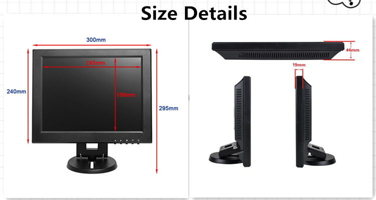 Professional Portable Vga 12Inch Small Size Lcd Monitor