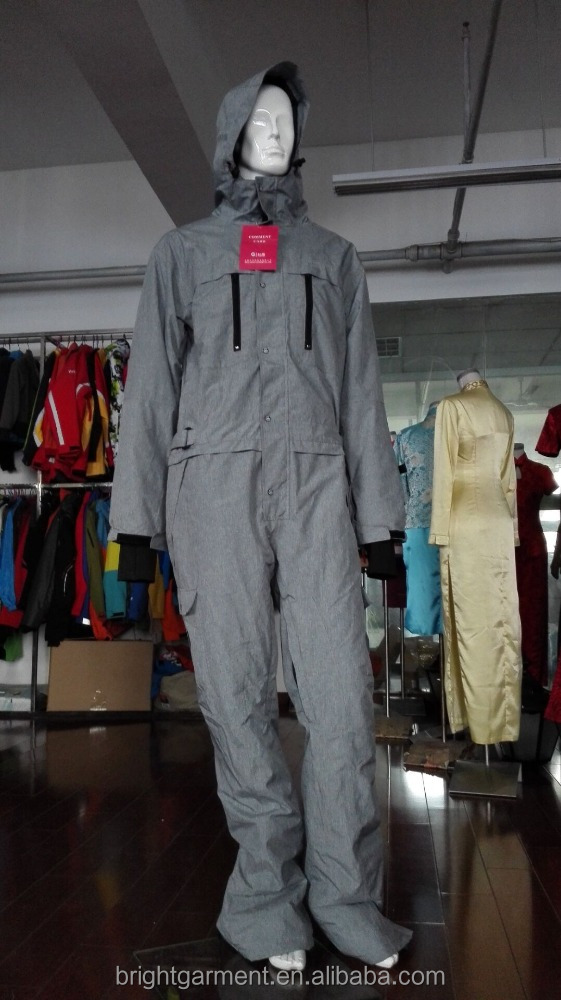 New fashipn grey men slim ski and snowboarding overall with down