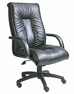 """Boss Black Leather Chair Overall Dimensions:28""""W X 33.5"""" D X 45"""" - 49""""H Seat Height: 19""""-23"""" Seat Size: 23""""W X 22""""D Arm Height: 26-30""""H - Black"""