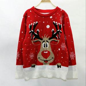 2018Christmas sweater women s loose large size long-sleeved small deer head  knitted patterned christmas sweater 523dd9efc