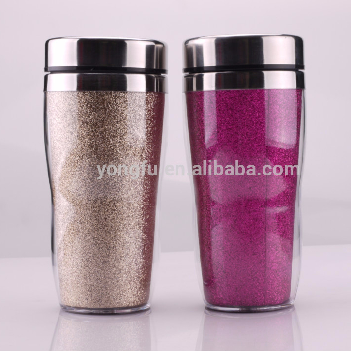 Dourble wall stainless steel drinking coffee mugs with BPAfree handle and lid