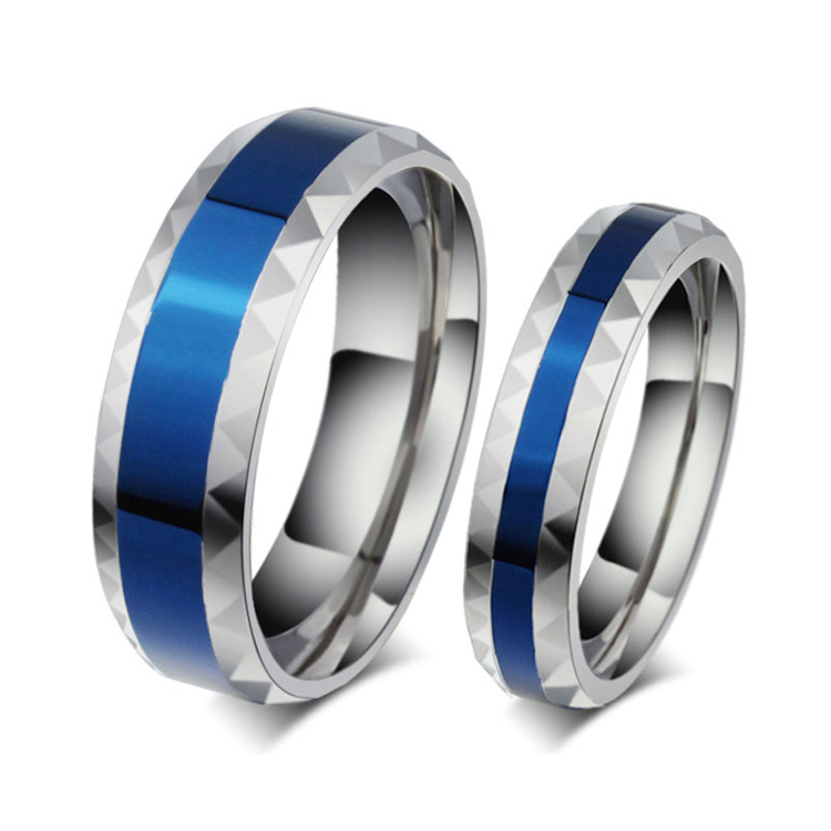 metal ring factory made custom stainless steel jewelry his and hers wedding bands romantic blue promise rings sets for couples