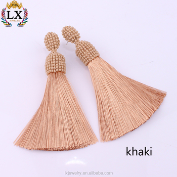 ELX-00863 wholesale manufacturer handmade beaded cap bohemian tassel earring jewelry tassel bead earrings