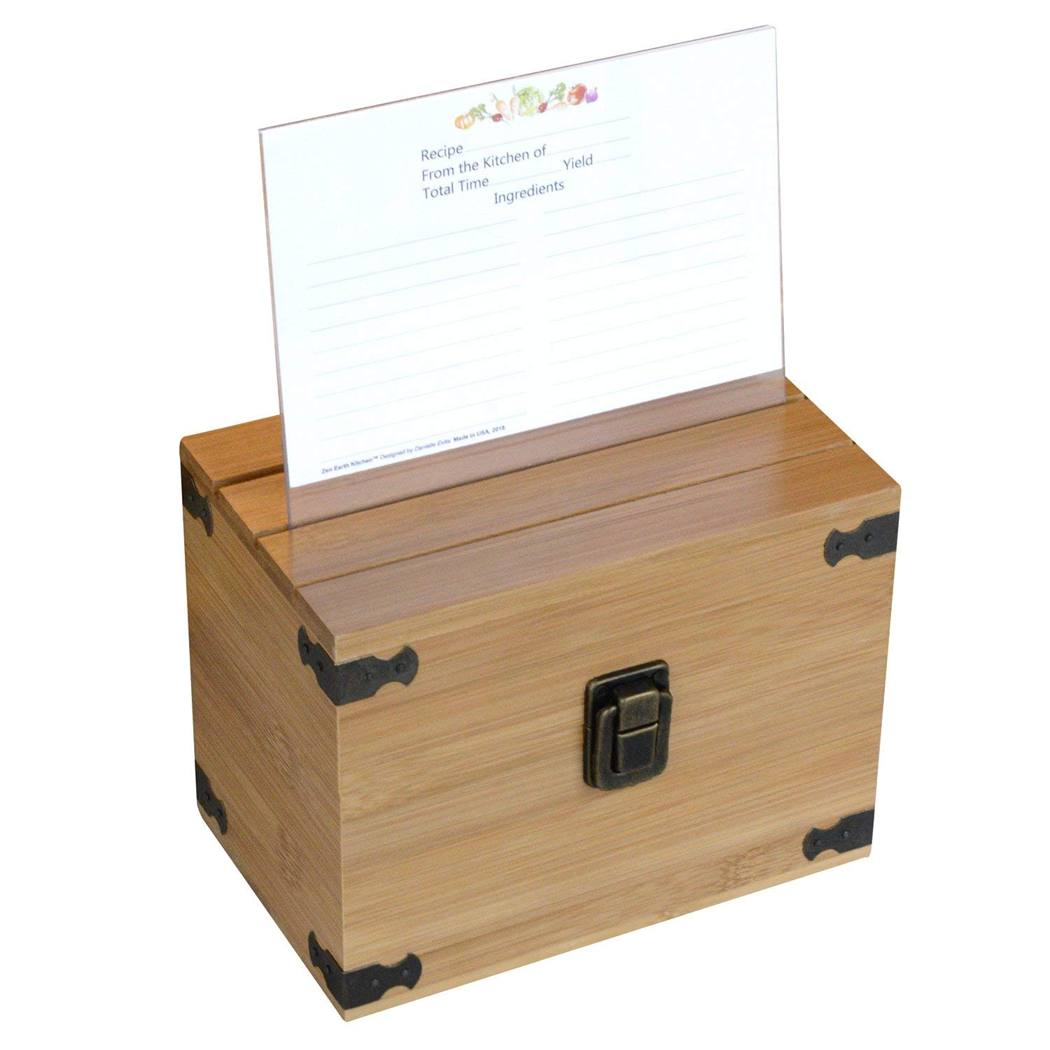 """Zen Earth Premium Kitchen Recipe Box -Luxury Handcrafted Bamboo Wood Recipe Case With Card Holder Grooves -Great For 200+ 4x6"""" Recipe & Index Cards -50 Recipe Cards & 1 Clear Card Frame Included!"""