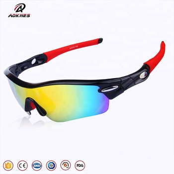 6b9facb7e0 AOKNES Polarized Sports Sunglasses with 5 Interchangeable Lenses for Men  Women Cycling Running Fishing Driving Golf