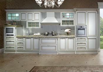 Bianco Solido Elegante Intagliare Legno Mobili Da Cucina In Stile ...