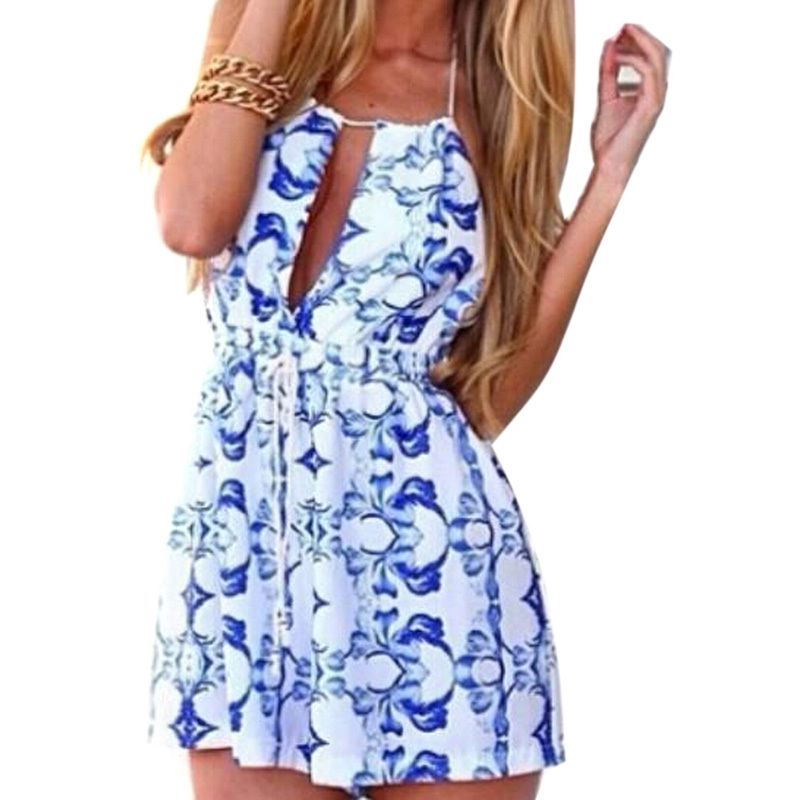 9cfa2ec61e3 Get Quotations · CHOIES Jumpsuit Blue Floral Backless Sleeveless Spaghetti  Strap Halter Deep V Neck Loose Casual Romper Short