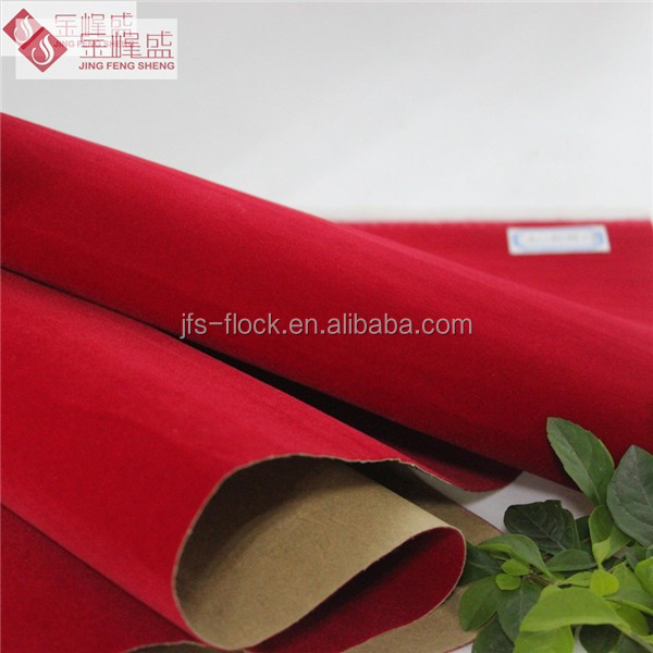 Adhesive Glue Velvet Flock Fabric for Packaging Box Material , Red Tricot Lining Fabrics
