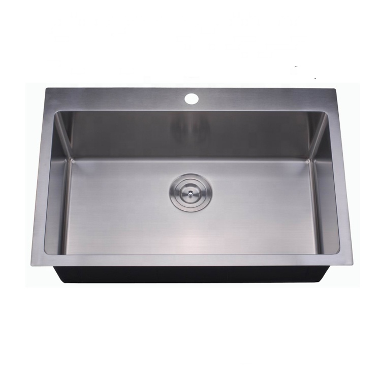 Topmount Handmade Single Bowl Kitchen Sink TP3322S-RD
