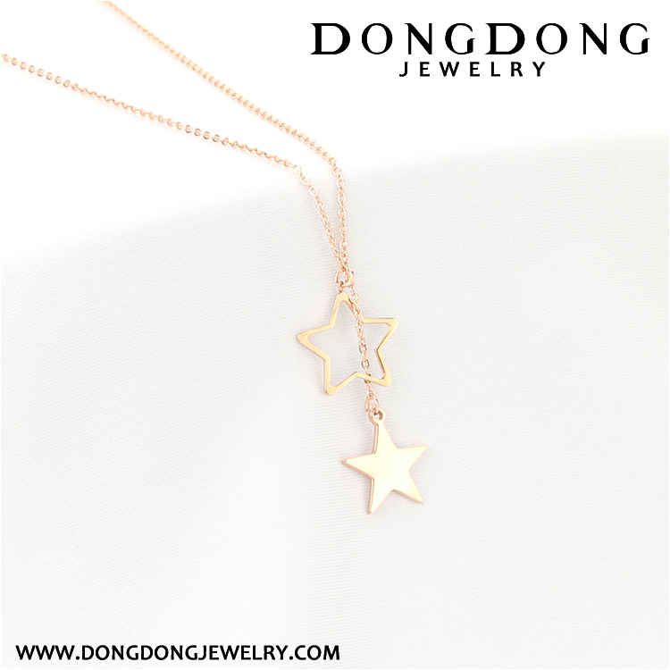 008 top selling fashion body jewelry rose gold plated stainless steel five pointed star necklace