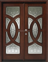 6' x 6'8 Mahogany Exterior Front Wood Two Tone Entry Door
