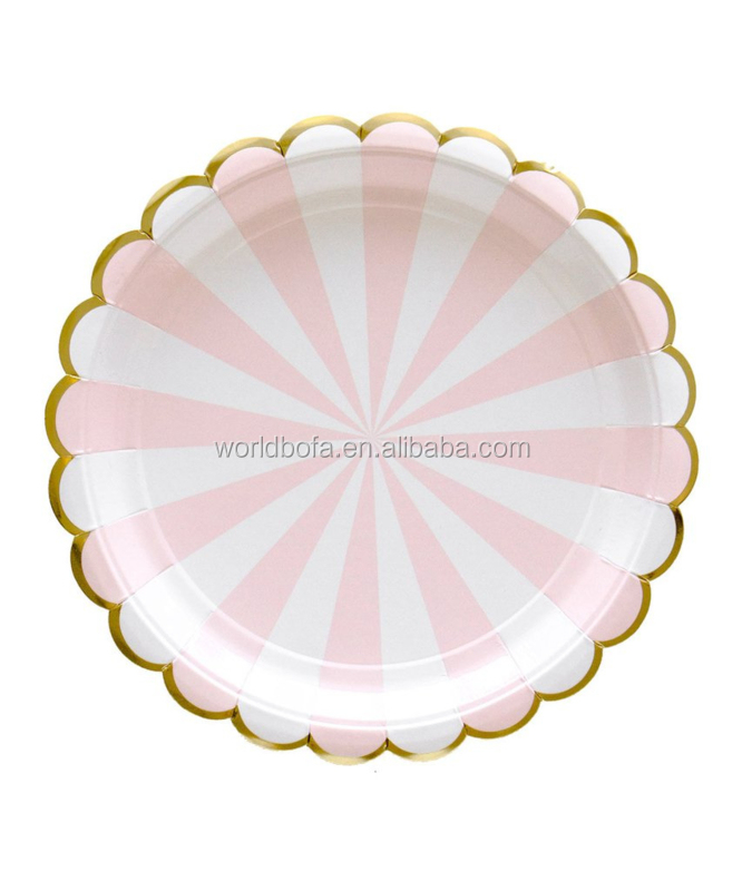 Customized printing disposable round paper plates for party