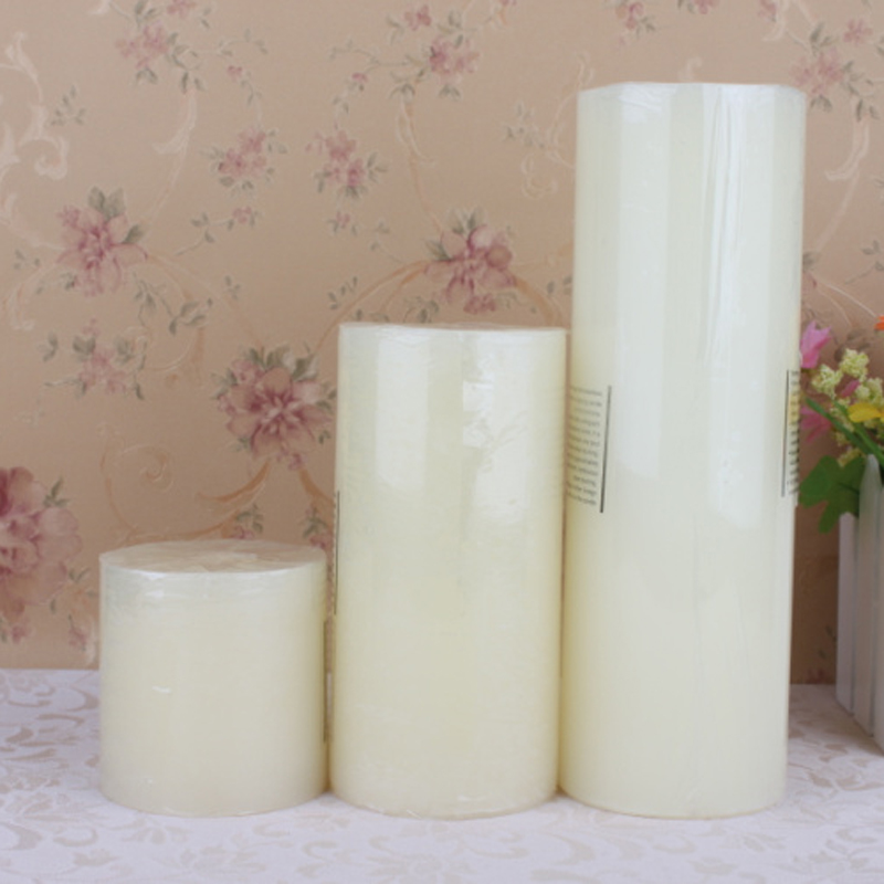 Custom Made Various Sizes Available Unscented Ivory White Pillar Candle