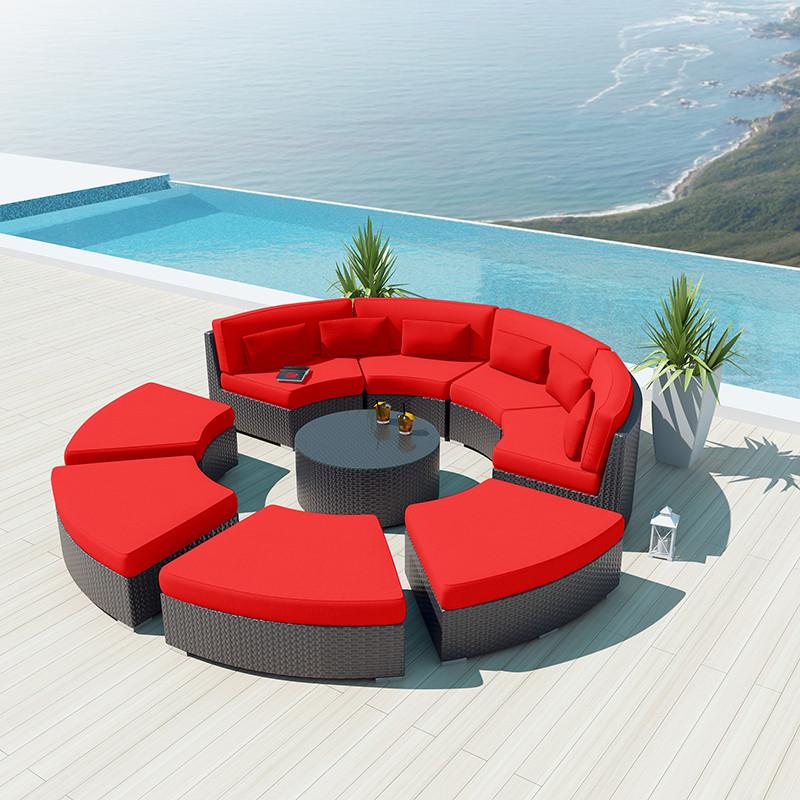 New Design Modern Semi Circle Sectional Sofa Rattan