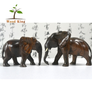 Wholesale Home Furnishing Articles Dongyang Elephant Wood Carving Office Table Decoration Item
