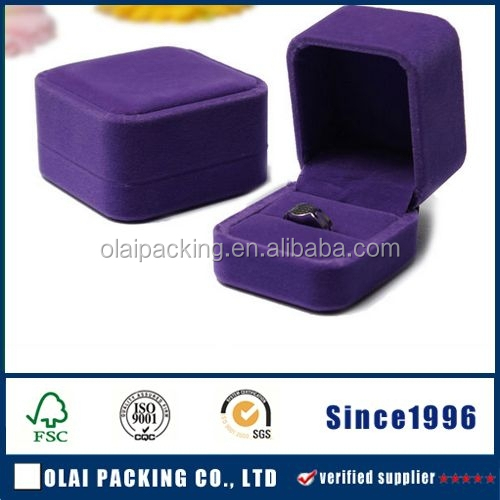 Wholesale High Quality purple velvet jewelry ring box