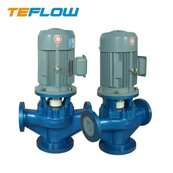 GDF Vertical FEP Lined Industrial pumps chemical resistant centrifugal Inline Pump