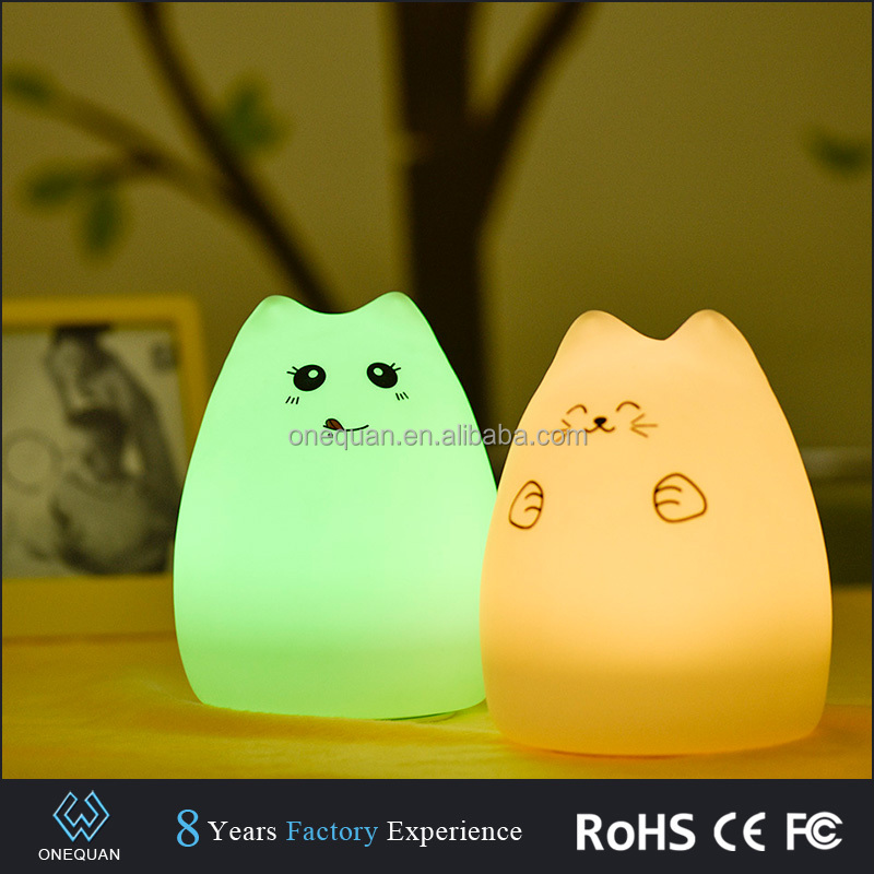 High quality Silicone Cat rechageable night lamp battery powered led night lights