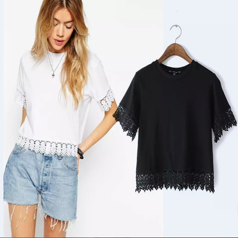 Free shipping 2015 spring and summer European leg lace short-sleeved round neck T-shirt solid color blouse A8104