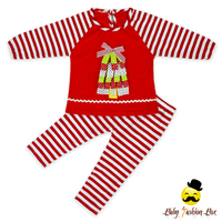 Stock !66TQZ377 Yihong Children's Christma Tree Print Fabric Baby Clothes Clothing Set Winter Wholesale Clothing Brands