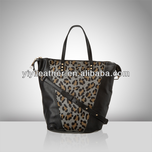 S234 new design High Quality Black Leather Leopard Handbags Tote Bag for Ladies Wholesale in china