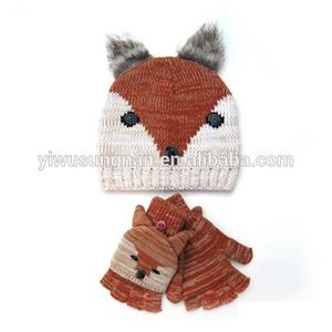 Funny fox knitted hat and glove set