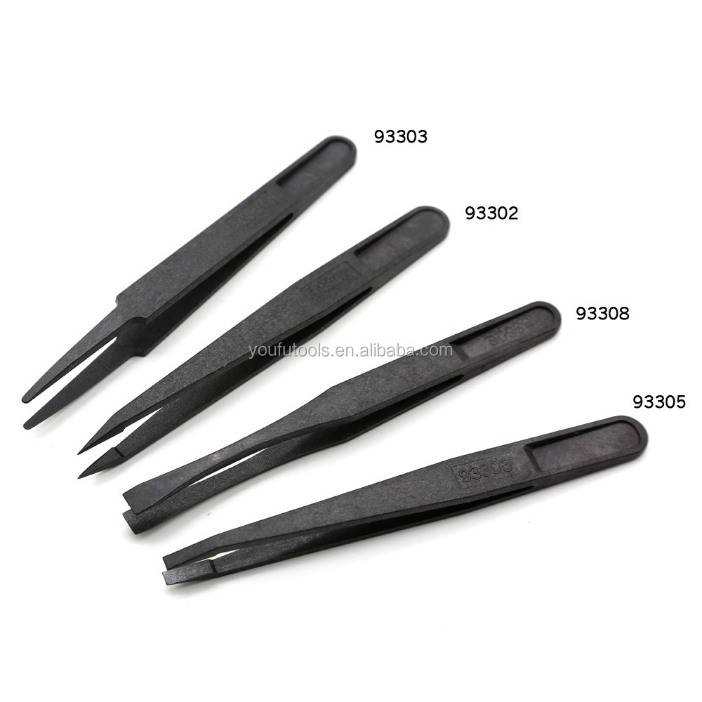93308 OEM Portable Black Straight Bend Anti-static Plastic Tweezer Heat Resistant Repair Tool
