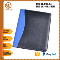 BWA-64 leather file folder/manager portfolio for business with document holder
