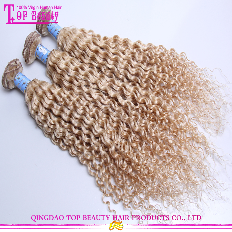 7a Unprocessed Brazilian Blonde Curly Hair Extensions Jerry Curly