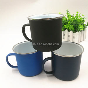 Wholesale customized matte powder color tin cup logo printing camping enamel mug with stainless steel rim
