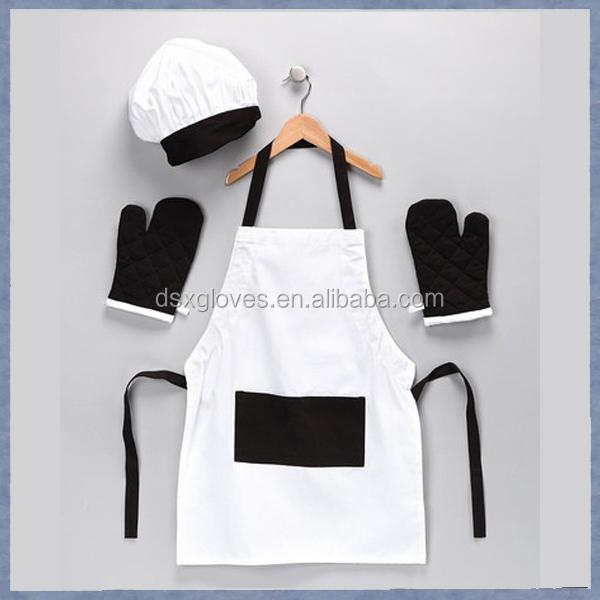 Apron Kitchen Cotton Oven Gloves Chef Hat Apron Kids