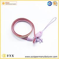 Satin strap promotion plastic zipper for sale printed logo lanyard