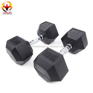 Wholesale Cross fit Weighting Equipment Rubber Hex Dumbbell With Contoured Handle