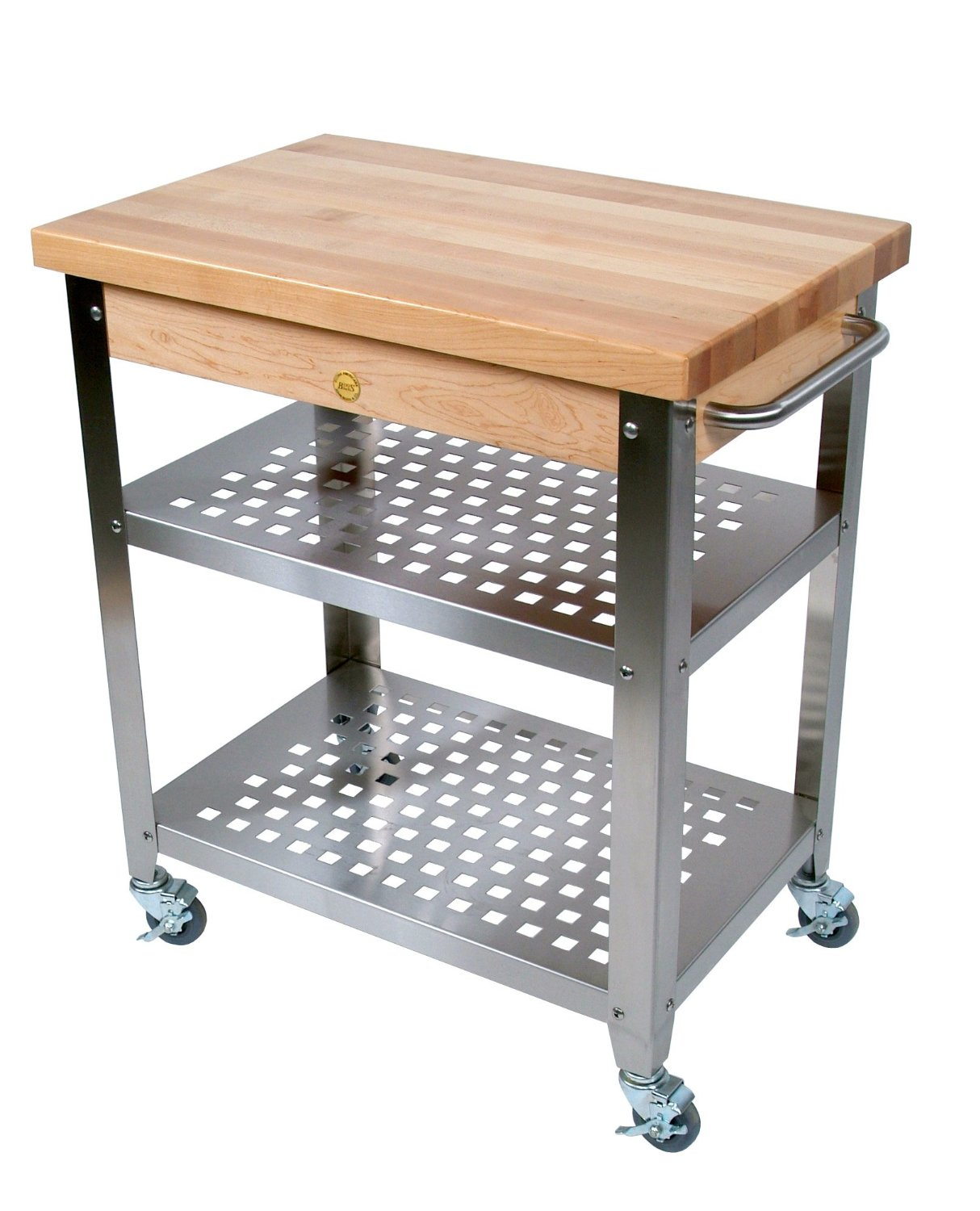 John Boos Stainless Steel Kitchen Cart with 30 by 20 Inch Maple Top and Drawer, Stainless Steel Shelves and Casters
