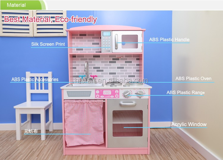 PLK519 Lovely Pink Interactive Girl's Play Kitchen With Plastic Accessories, Easy Assembly Wooden Kids Kitchen Toy Set