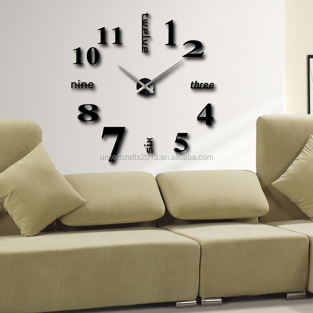 Home decorationbig number mirror wall clock modern designlarge home decorationbig number mirror wall clock modern designlarge designer wall clock amipublicfo Images