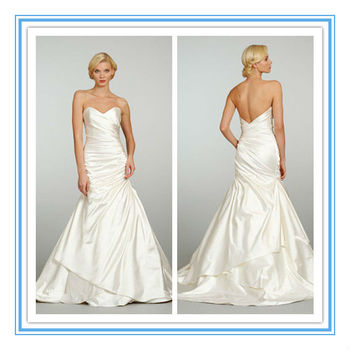 New A Line Elastic Woven Satin Simple Plain Wedding Dress With Removable Jacket Wdjl 1022 Very
