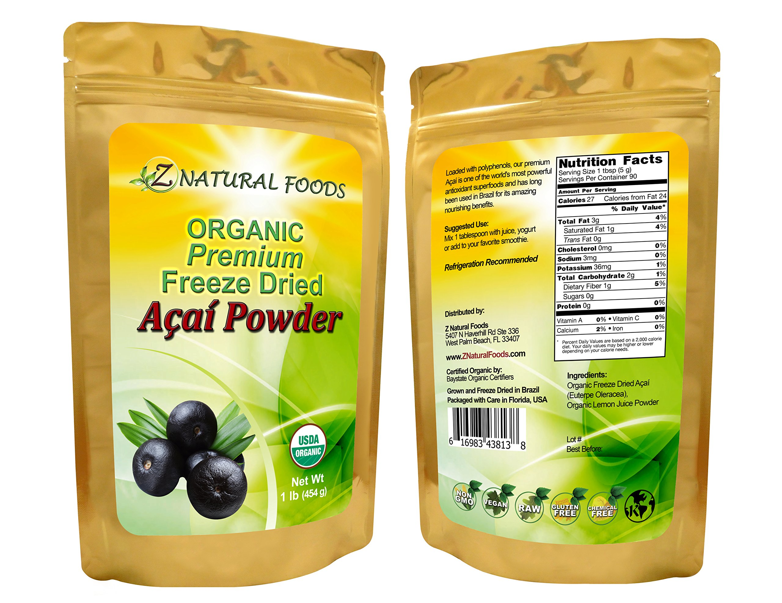 Fresh, Organic Raw Acai Berry Powder, Superfood - Antioxidant, Premium, Non-GMO, Freeze-Dried, 16 oz (1 lb)