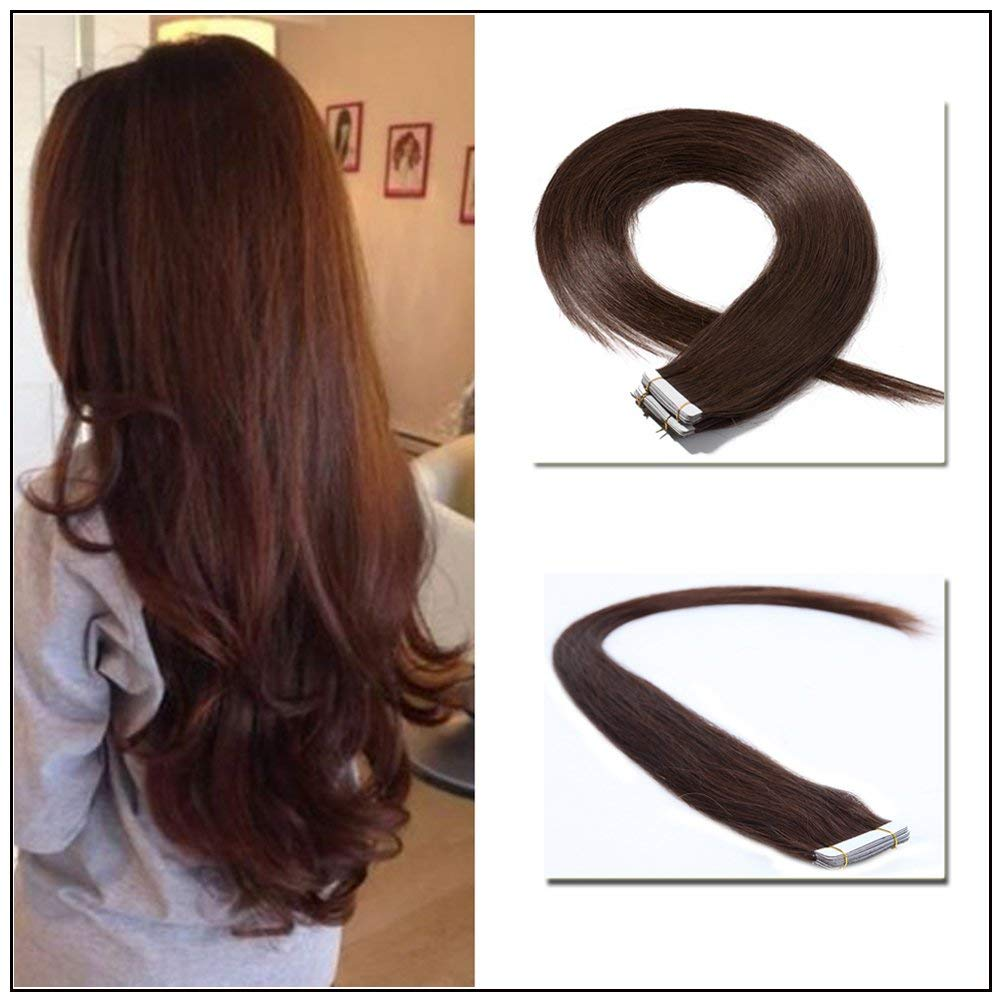 """Tape in Hair Extensions 100% Remy Human Hair 16"""" 18"""" 20"""" 22"""" Double Side Tape Seamless Skin Weft Natural Hair Extensions 20pcs Long Straight Silky for Women and Girl (16 inch 50g,#4 Medium Brown)"""