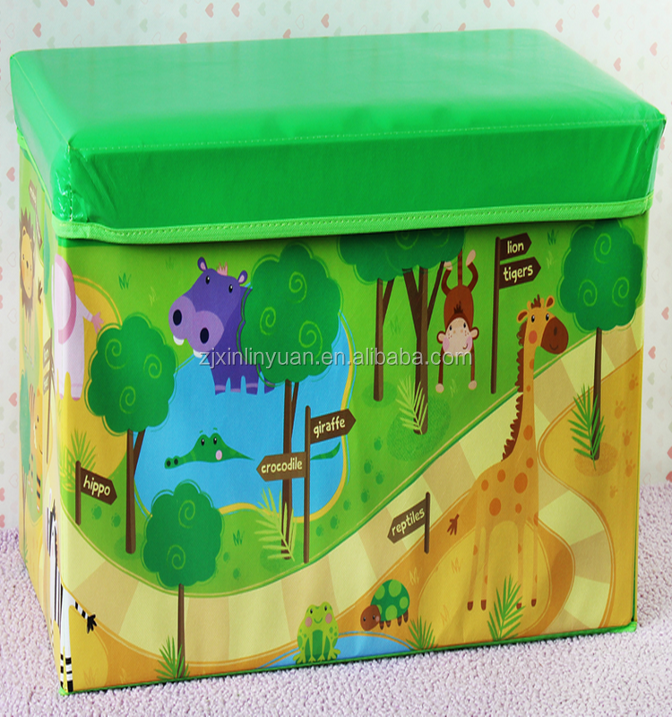 colorful kids cartoon print faux leather folding storage ottoman with very cheaper price