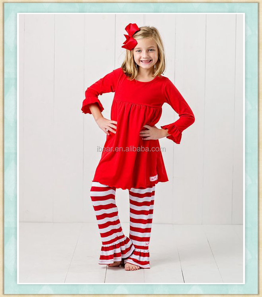kids clothes for american girls childrens wear wholesale solid color long sleeve tunic and red striped ruffle pants sets