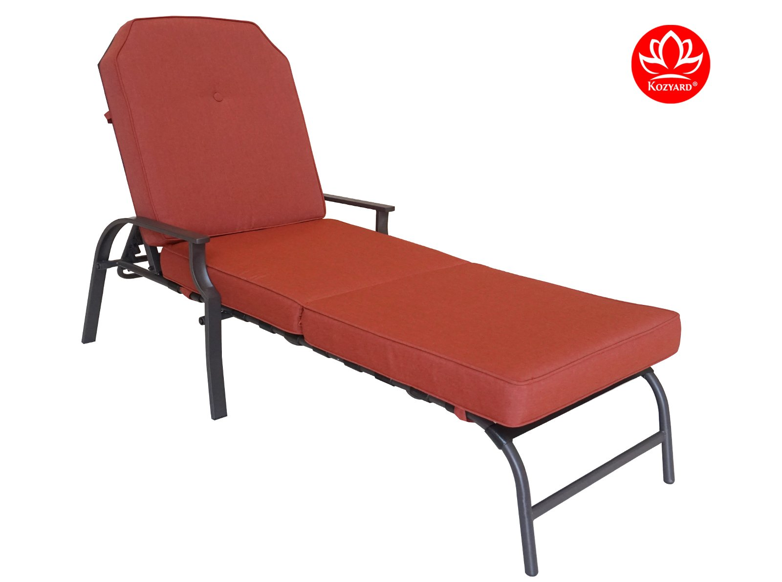 Kozyard Maya Outdoor Chaise Lounge Weather & Rust Resistant Steel Chair with Polyester Fabric Cushion For Pool, Patio, Deck or Yard (Terracotta)