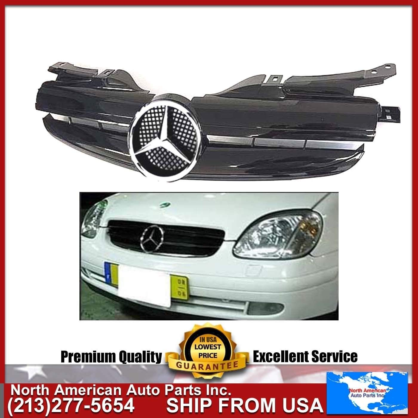 Get Quotations · MERCEDES BENZ SLK 97-04 ALL BLACK GRILLE AMG STYLE CHROME  STAR EMBLEM 1997 1998