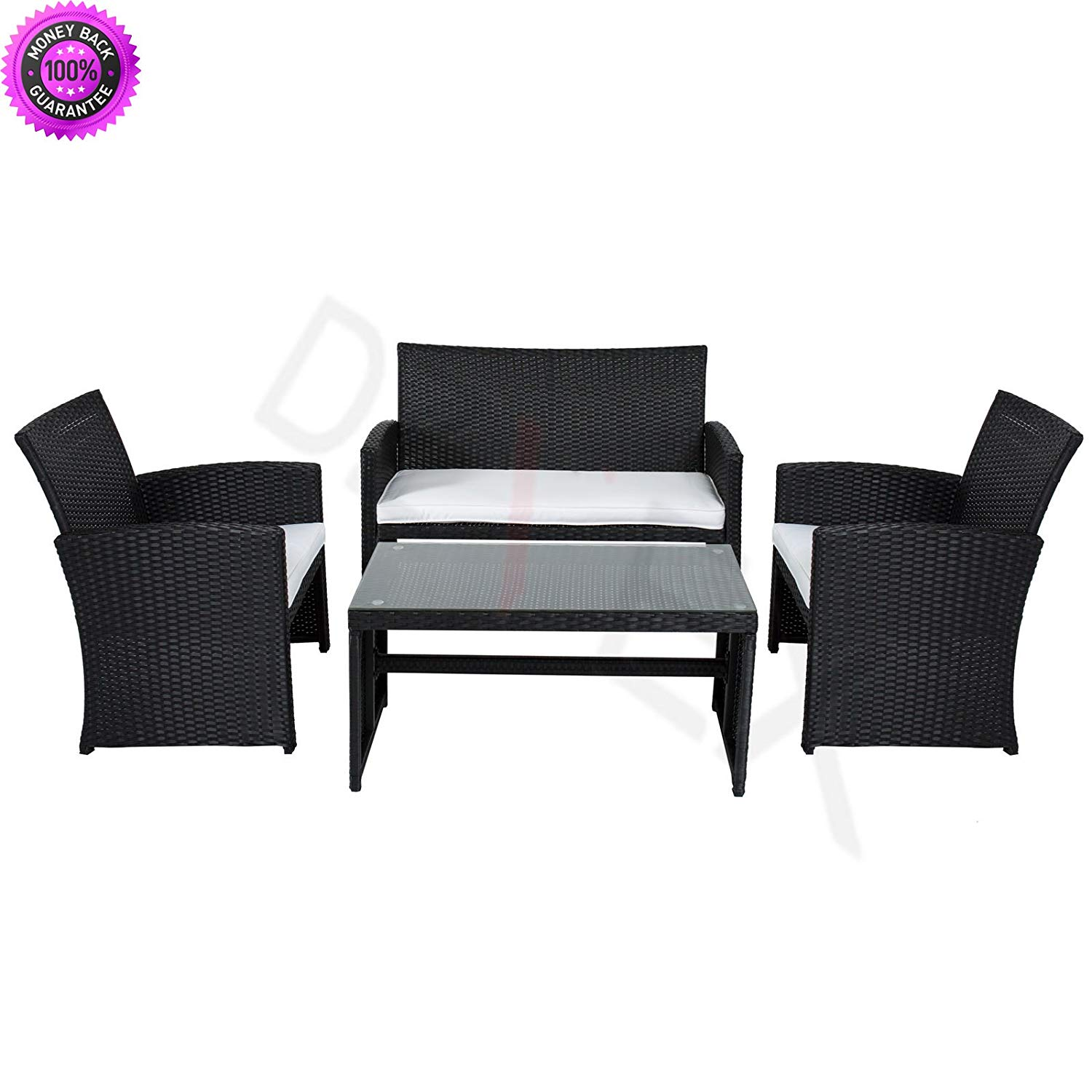DzVeX Outdoor Garden Patio 4pc Cushioned Seat Black Wicker Sofa Furniture Set And patio furniture clearance sale patio furniture sets patio furniture lowes discount outdoor furniture patio furniture