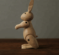 Hot selling rabbit ornaments /wood carving rabbit joint puppet decoration