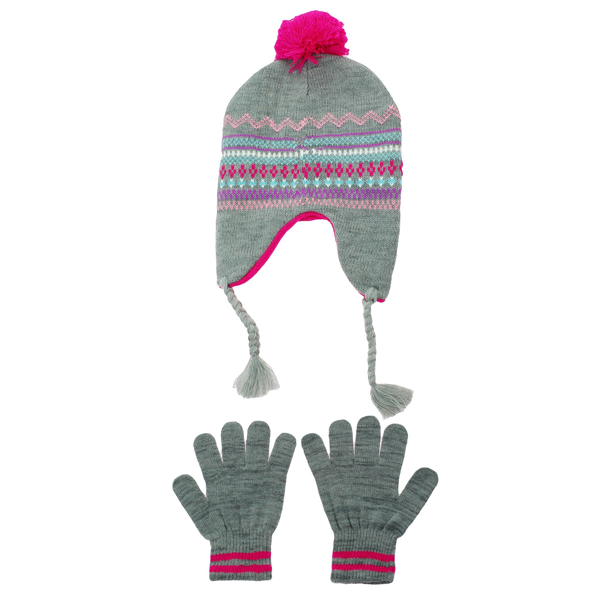 294bc79edd5 Get Quotations · Hanes Girls Heather Grey Fairsile Peruvian Hat and Glove  Set Youth 4-14 Pom Pom