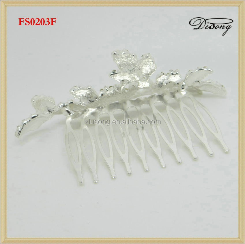 FS0203 Silver Plated Rhinestone Crystal Jewelry Bridal Party Hair Comb