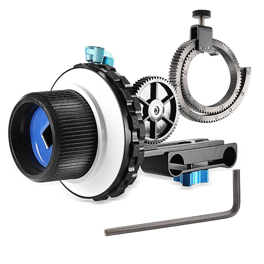 Follow Focus C2 with Gear Ring Belt for DSLR Cameras Such as For Nikon,Canon DV/Camcorder/Film/Video Cameras,Fits 15mm Rod